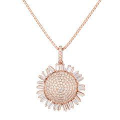 Halskette mit Anhänger Sonnenblume 925 Silber rosegold Zirkonia