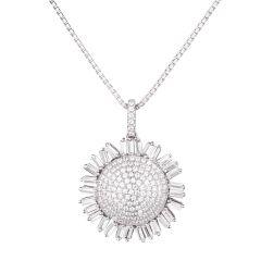 Anhänger Sonnenblume mit 925 Silberkette rhodiniert