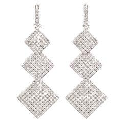 Ohrringe 925 Silber rhodiniert 3x Quadrat eckig 45mm lang