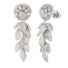 Neu: Auffällige Silber Ohrringe Blume hängend Blatt Ranke Zirkonia Blätter Traube lang
