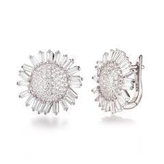 925 Silber Ohrringe Ohrstecker Sonnenblume Blüte 18mm groß