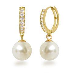 Vergoldete Perlen Ohrringe Creolen aus 925 Silber gold mit glitzernden Zirkonia und synth. Perle 10mm