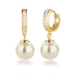 Creolen vergoldet 925 Silber Perlen Ohrringe Zirkonia Farbwahl