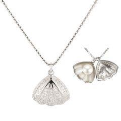 Halskette mit Muschel Anhänger mit Süßwasser Zuchtperle innen, 925 Silber rhodiniert