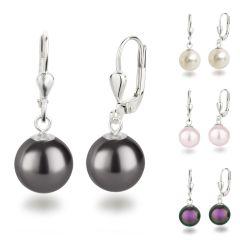 925 Silber Ohrringe mit  synth. Perle 10mm rund, Ohrhänger Farbwahl