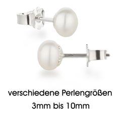Perlen Ohrstecker 925 Silber mit Süßwasser Zuchtperlen