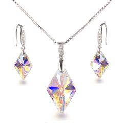 Schmuckset 925 Silber Rhodium mit Swarovski® Rhombus Kristall in Crystal Aurora Boreale