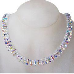 Auffälliges Collier, Halskette aus Swarovski® Kristall Crystal Aurora Boreale, 925 Silber