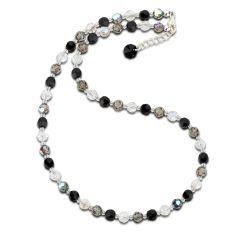 Swarovski® Kristallperlen Collier Halskette in schwarz grau crystal 925 Silber