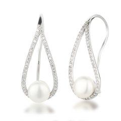 Perlen Ohrringe Ohrhaken Zirkonia 925 Silber