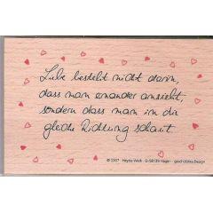 Poesie Stempel  Liebe besteht...