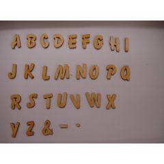 ABC Holzbuchstaben natur  Kleinteile gelasert 50mm