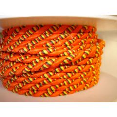 Lurexkordel 4mm orange/gelb rot grün gestreift