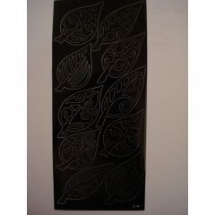 Sticker Scherenschnitt Blatt schwarz