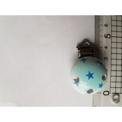 Schnuller Clip hellblau mit Sternen