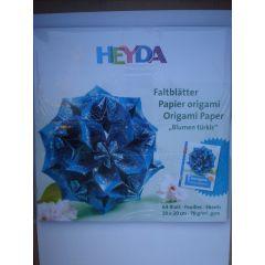 Faltpapier Fleurogamie Blumen türkis