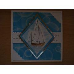 Kommunion Konfirmation handgemachte Karte mit Segelschiff quadratisch