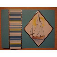 Kommunion Konfirmation handgemachte Karte mit Segelschiff quer