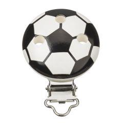 Schnullerclip Fußball schwarz / weiß