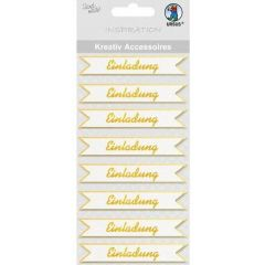3 D Sticker  Einladung gold oder silber