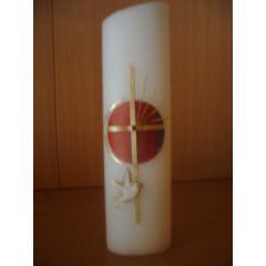 Taufkerze ovale Form oder rund ,Regenbogenwachs, Kreuz Handarbeit