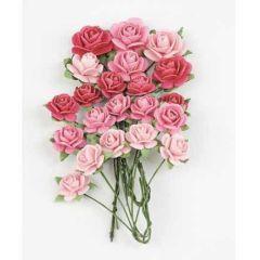 Papier Rosen ; Pretty pink  21 Stück RB2205