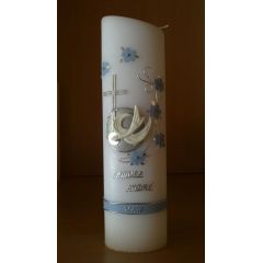 Taufkerze Junge Blumenranke hellblau ,kl. Kreuz,weiße Taube - Handarbeit