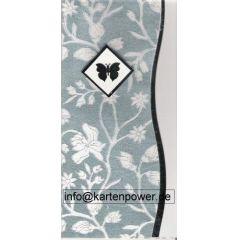 Florales Muster taubenblau /silber / Schmetterling