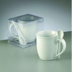 Geschirr Porzellan, Tasse mit Löffel, ø 8,8 / 5,7 x H 9,6 cm, 300 ml, weiß