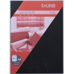 S-line A6 Karte passendes Kuvert / Briefbogen je 5 Stück schwarz