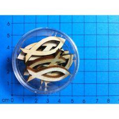 Holz Fisch geöffnet 30mm in Dose ca. 13 St.