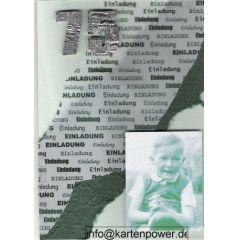 Karte mit Naturpapier, Bild, Einladung handgearbeitet