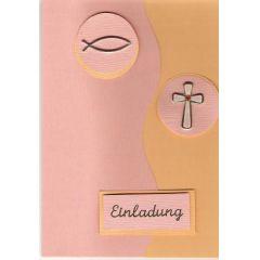 Konfirmation Kommunion KarteApricot/ maisgelb mit runden Ornamenten