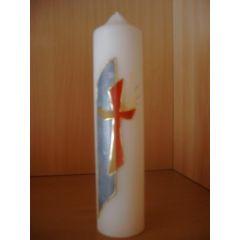 Regenbogenfarbenes Kreuz mit blauer Seite handarbeit