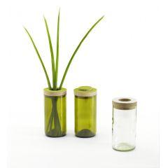 Vase und Dose - gefertigt aus einer Weinflasche mit Holzdeckel