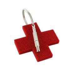 Notfall-Anhänger - Schlüsselanhänger rotes Kreuz aus Filz mit Schraubenzieher