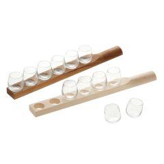 Schnapsgläser, mundgeblasen mit oder ohne Holzbrett