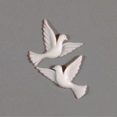Wachsdekor, Taubenpaar, 35 mm, 1 Stk., weiß