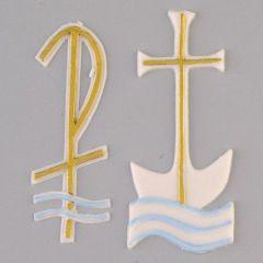 Wachsdekor, Kreuz + Pax + Wellen, 80 x 35 + 75 x 25 mm, 2 - teilig, weiß/gold/blau