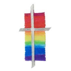 Wachsdekor, Kreuz bemalt Regenbogen, 117 x 60 mm, 1 Stk., regenbogen silber