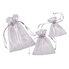 CREApop® Organza-Säckchen silber 8 x 10 cm, Beutel a 12 Stück