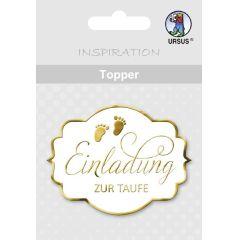"""Topper """"Einladung zur Taufe"""" weiß/silber oder weiß / gold"""