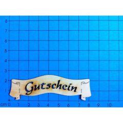 """Banner """"Gutschein"""" und viele andere Schriftzüge ausgeschnitten"""