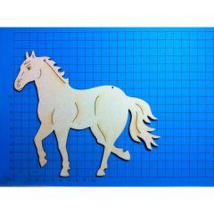Holz Kleinteile gelasert Pferd trabend 60mm - 180mm