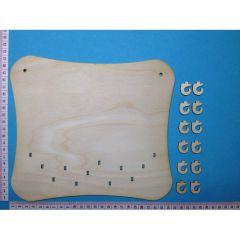 Tafel mit 12 Haken; ca. 23 cm