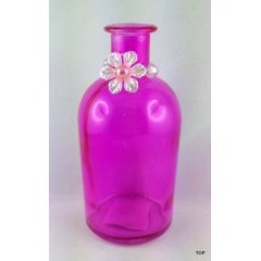 Glasvase Dekovase Glasflasche Dekoflasche Vase Blumenvase aus pink farbigem Glas mit einem schönen Anhänger