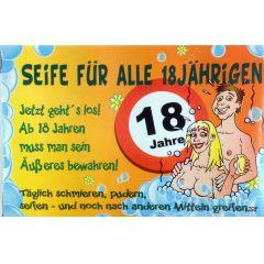 SEIFE FÜR ALLE 18JÄHRIGEN Pflegeseife Geschenk Lustige Geschenkidee GAG Seife 100g