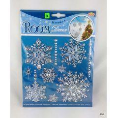 Weihnachts-Fenster-Raumdekoration 18 x 24 cm Schneeflocke silbern sehr coole Fensterverzierung Raumgestalt
