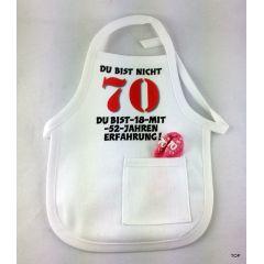 Flaschen Schürze Mini Schürze DU BIST NICHT 70 Eine originelle Art Flaschen zum 70. Geburtstag zu verschenken