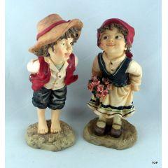 Keramik Deko Figur Bauernkinder